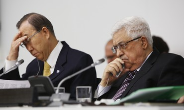 PA President Abbas and Ban Ki-moon at the UN