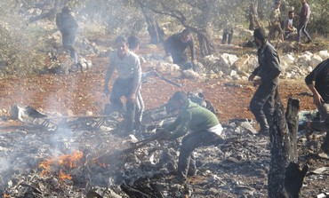 Burning wreckage of  Syrian warplane [file]