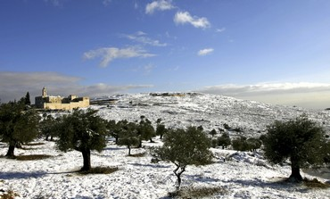 Snow outside of Jerusalem