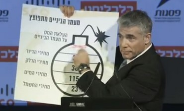 Yair Lapid with bomb cartoon
