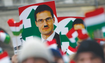 Defaced placard of Jobbik Party leader Gyongyosi
