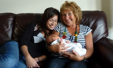 Sharon with her daughter Caroline and grandchild