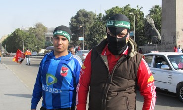"An ""ultra"" or soccer hooligan with the El Ahly team, on his way to Tahrir Square on January 26, 2013"