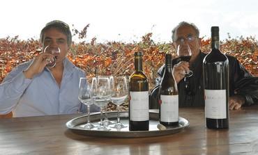 Prof. Ben-Ami Bravdo and Prof.Oded Shoseyov at the vineyard