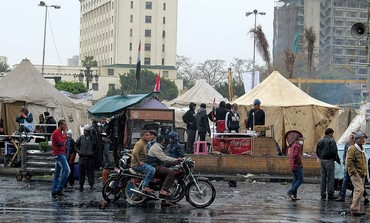 Ratty tents at rainy Tahrir Square in Cairo