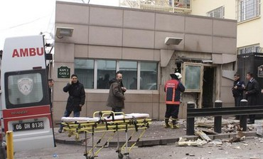 Blast at US embassy in Ankara, February 1, 2013.