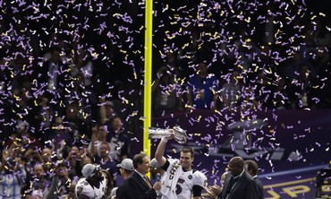Baltimore Ravens QB Joe Flacco celebrates after Super Bowl win on February 3, 2013