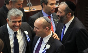 Yesh Atid leader Yair Lapid and Bayit Yehudi head Naftali Bennett at Knesset s