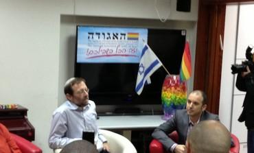 Feiglin (Left) meets LGBT community