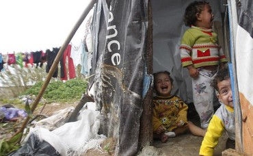 Syrian children at refugee camp in Tyre, southern Lebanon
