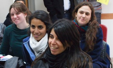 Young Argentinian teachers attend a presentation at Ulpan Mila in Jerusalem as part of pilot trip.
