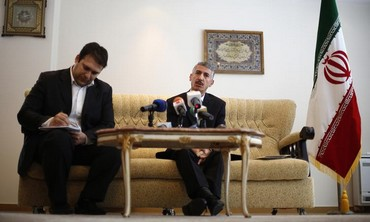 Iranian ambassador to Bulgaria Gholamreza Bageri speaks to reporters  in Sofia February 8, 2013