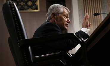Chuck Hagel (R-NE) testifies during a Senate Armed Services Committee hearing, January 31, 2013.