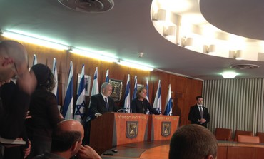 Netanyahu, Livni at press conference Feb. 19, 2013