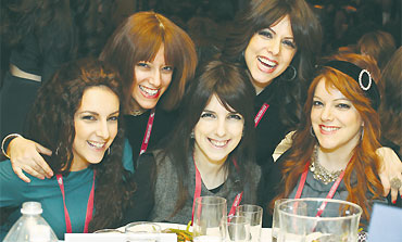 Sisters reunited at the Kinus, from left: Sonia, Sara, Mushky, Zeldi and Dini.