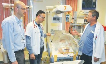 Baby recieving blood infusion at Nahariya's Western Galilee Hospital.