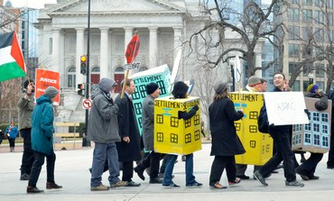 Occupy AIPAC protesters dress up as settlements. March 3