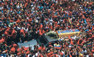 THE COFFIN of Venezuela's president Hugo Chavez driven through Caracas, March 6, 2013