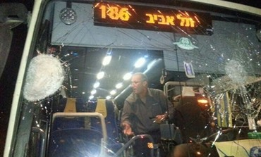 Bus damaged by stones on Route 5 near Ariel, March 14
