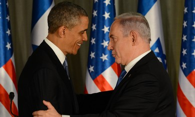 US President Obama and Prime Minister Netanyahu at the Prime Minister