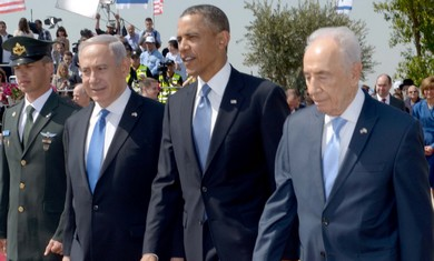 Netanyahu, Obama and Peres at Ben Gurion Airport, March 20, 2013.