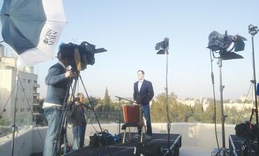 NBC news at Jerusalem hotel covering Obama visit, March 20, 2013.