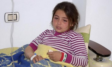 Girl allegedly hurt in Syria chemical weapon attack, March 19, 2013.