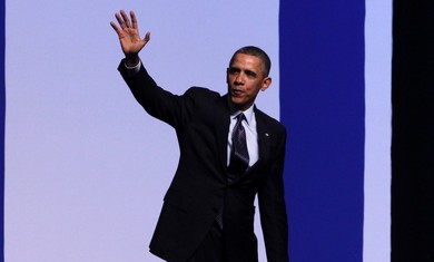 Obama waving after speech in Jerusalem, March 21, 2013.