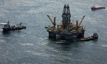 Oil drilling platform.