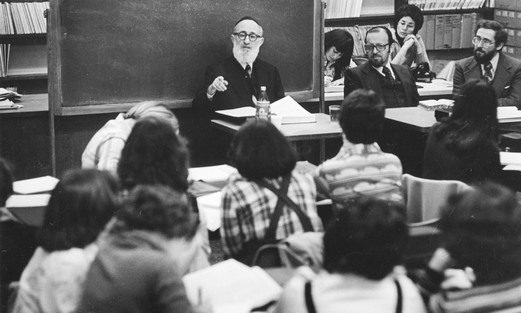 THE RAV delivers the first Talmud class at Stern College for Women.
