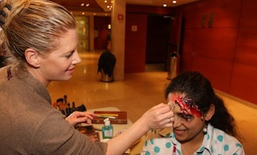 A course participant during a makeup workshop