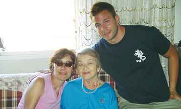 JAY SHULTZ with his mother, Sabina Shultz, left, and his adopted survivor 'safta,' Csilla Dunklemen
