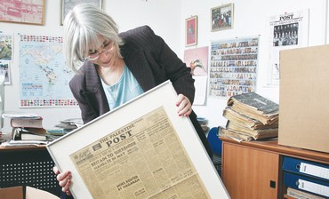 LIAT COLLINS, editor of 'The Jerusalem Post International Edition,' packs up her office in Romema