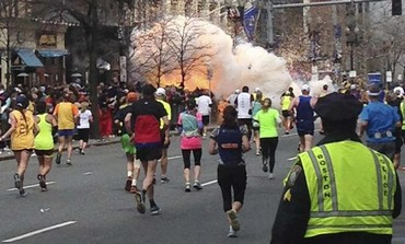 Explosion erupts at the finish line of the Boston marathon, April 15, 2013.