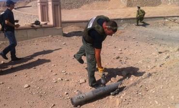 Landing site of rocket in Eilat, April 17, 2013.