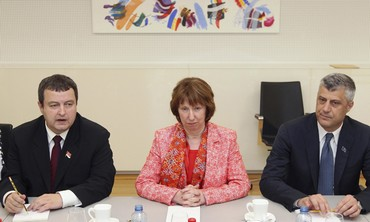 Serbian PM, Catherine Ashton, and Kosovan PM, April 19, 2013.