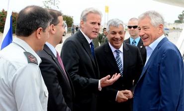 US Secretary of Defense Chuck Hagel arrives in Israel.