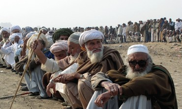 TRIBAL ELDERS and refugees fleeing fighting in Waziristan in Pakistan.
