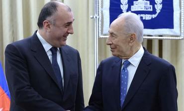 Azerbaijani FM Mammadyarov and President Peres meet in Israel, April 22,2013