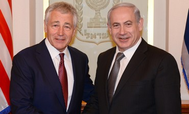 PM Binyamin Netanyahu with USA Secretary of Defence Chuck Hagel, Jerusalem.