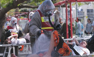 A DRILL at the Meir Medical Center in Kfar Saba tests responses to a chemical weapons attack.