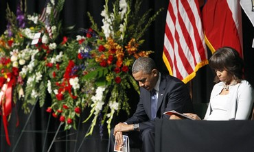 US President Barack Obama and First Lady Michelle mourn Texas firefighters.