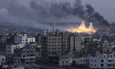White phosphorus bombs exploding over Gaza city