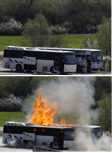 A bus is blown up during a controlled explosion by investigators probing Bulgaria terror attack