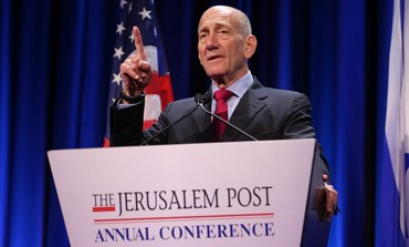 Ehud Olmert at the Jerusalem Post Conference, April 28, 2013.