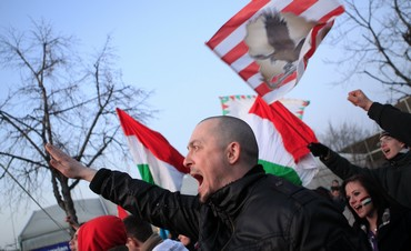 Far right Hungarian soccer supporters shout slogans [file]