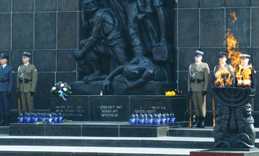 THE UNVEILING of a memorial on the 70th anniversary of the Warsaw Ghetto uprising.