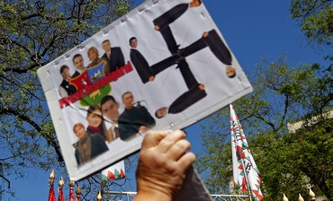 Far-right Jobbik party rally in Budapest, May 4, 2013