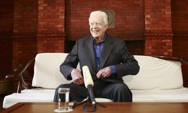 Jimmy Carter during an interview in Kathmandu in April