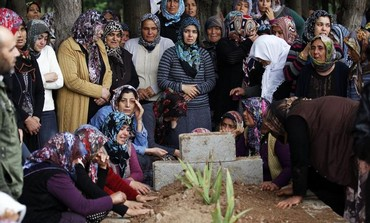 Women grieve victims from the Syrian conflict.